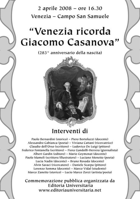 "2 aprile 2008, Venezia – Campo San Samuele: ""Venezia ricorda Giacomo Casanova"""