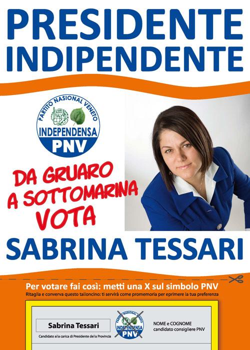 Sabrina Tessari candidato presidente provincia di Venezia del PNV
