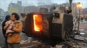 Carro armato incendiato